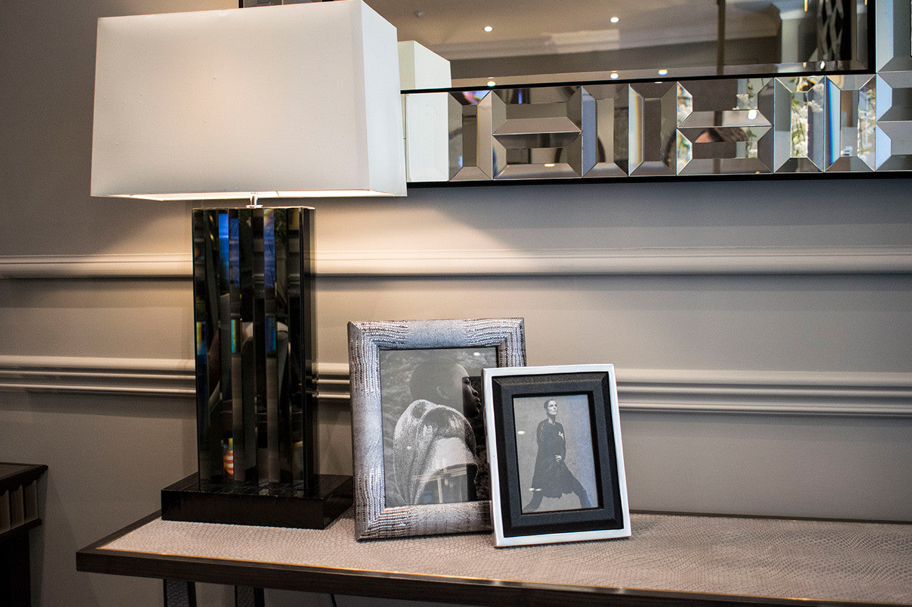 Simpsons London luxury table lamp and photo frames