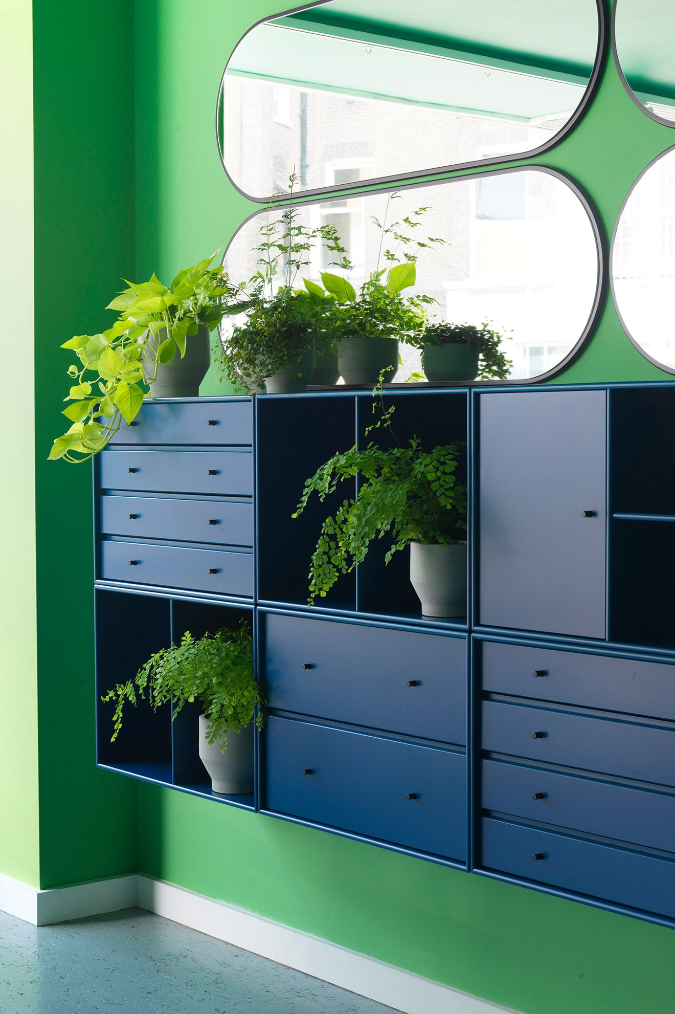 Skandium Eco Townhouse London blue drawers and storage