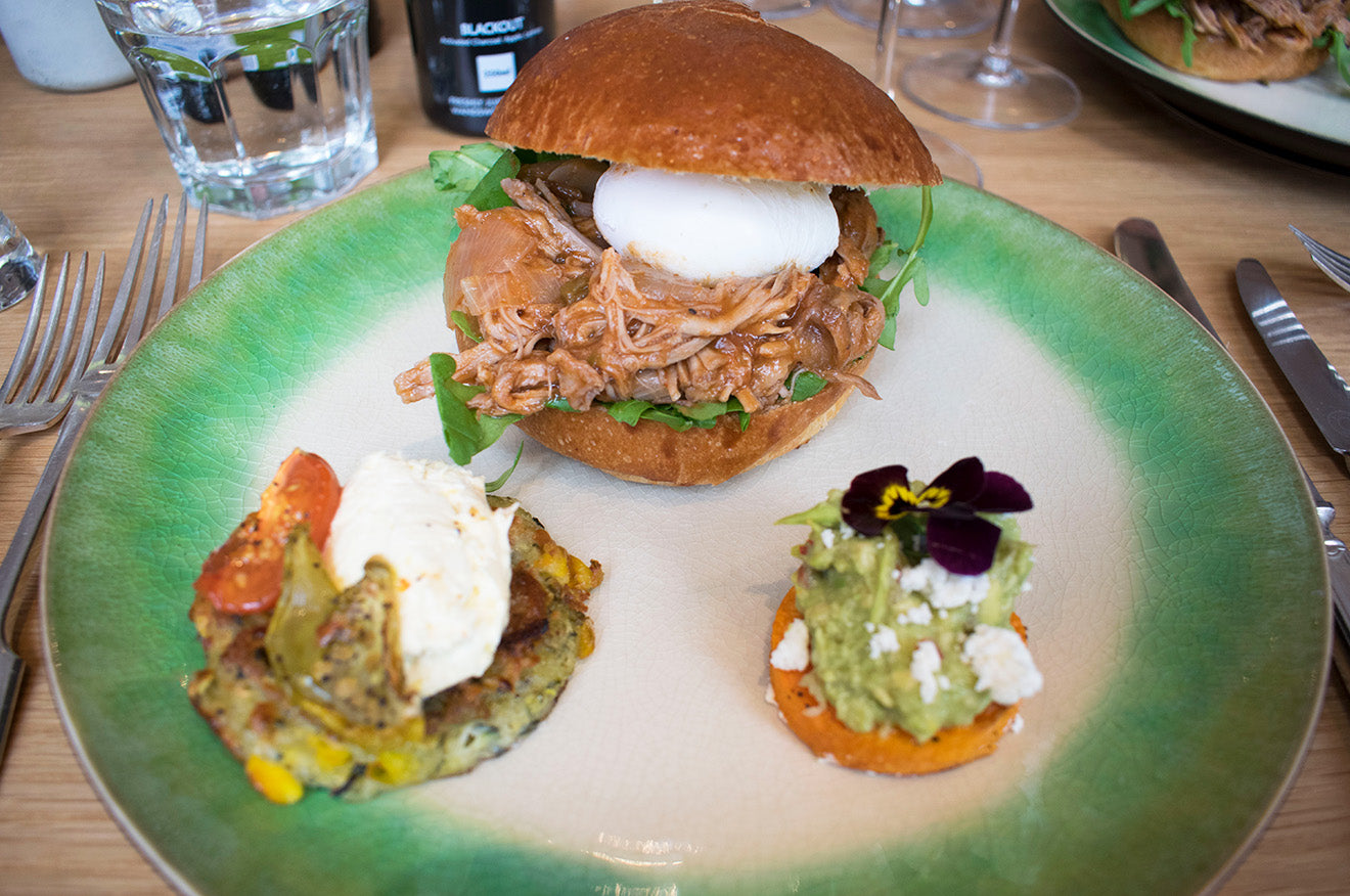 Slow Roasted Pulled Pork and Brioche Slider with Fried Egg at Social Pantry