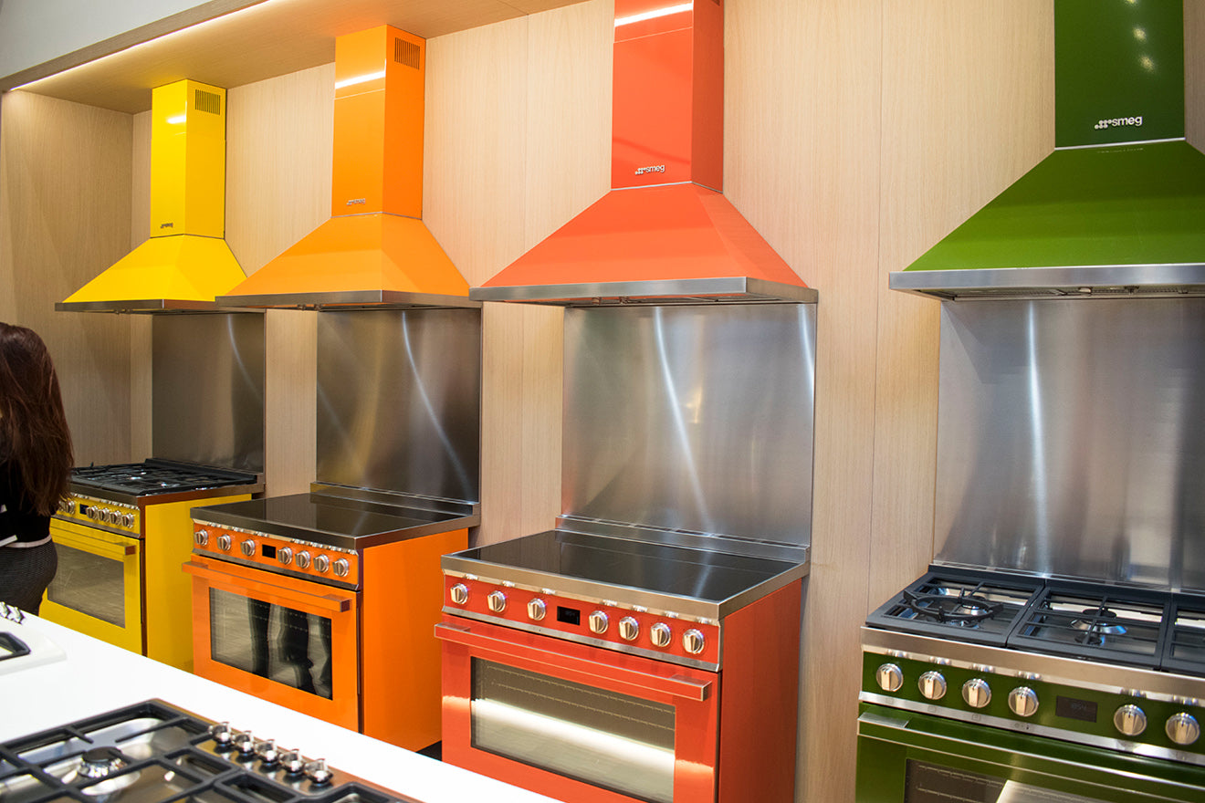 Smeg vibrant coloured ovens and cooker hoods
