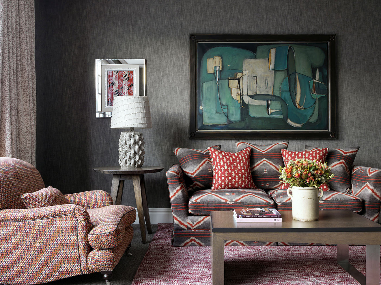 Soho Hotel London boutique suite with printed sofa