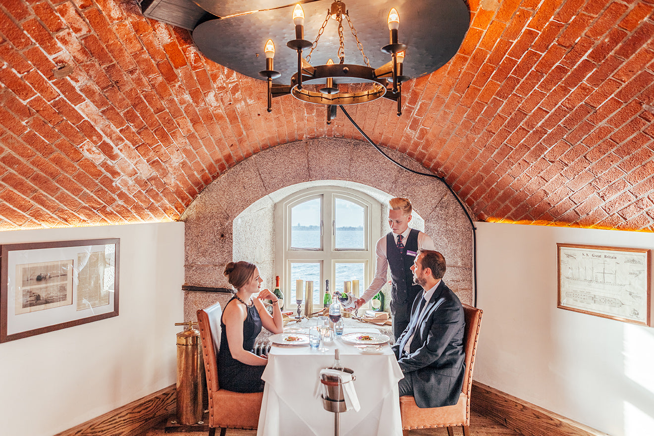 Spitbank Fort luxury converted boutique hotel with dining under the arches