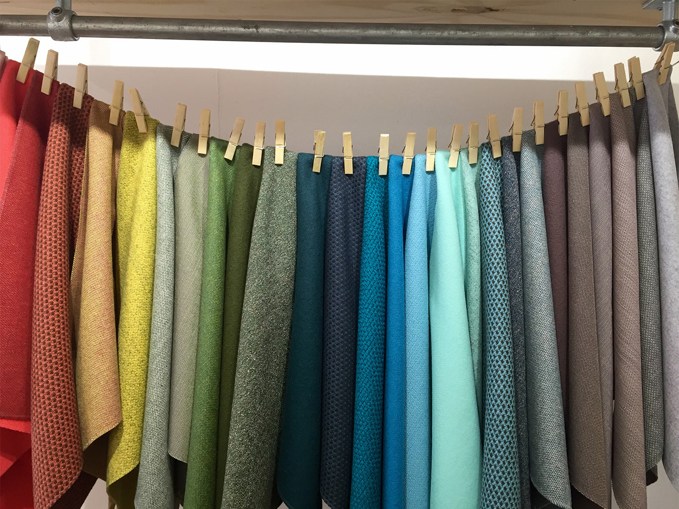 rainbow coloured fabric display at Splash of Colour London