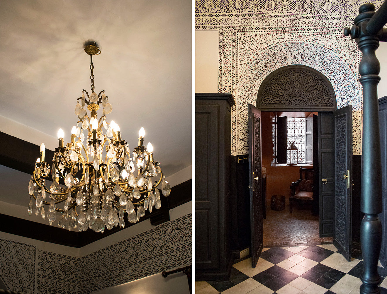 Chandelier and Moroccan detail on display in the State of Grace Suite