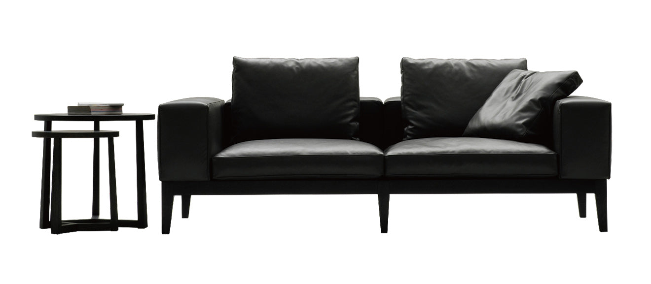 Black leather contemporary modern sofa from Camerich