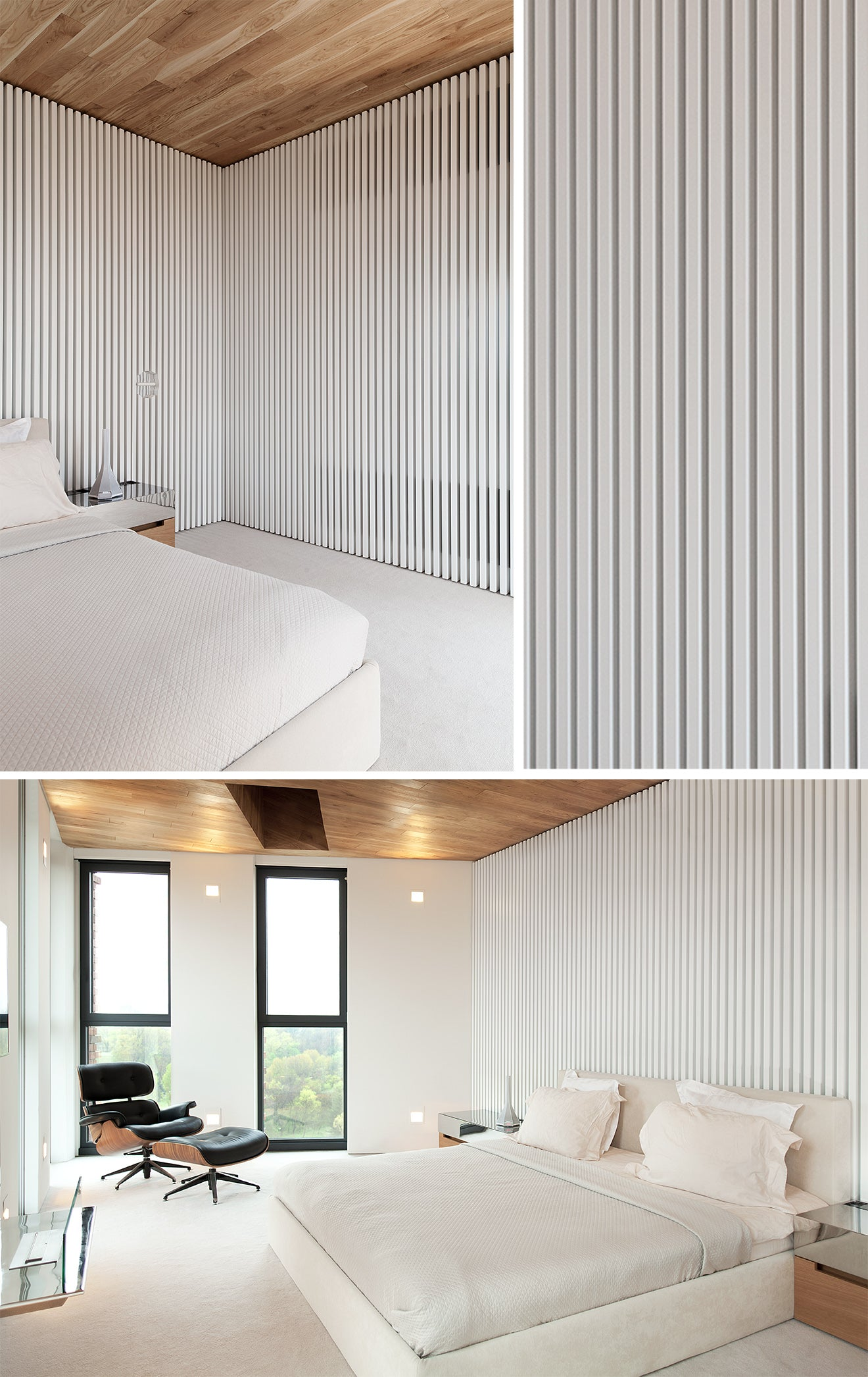 Studio Mode modern white bedroom interior design with wooden ceiling