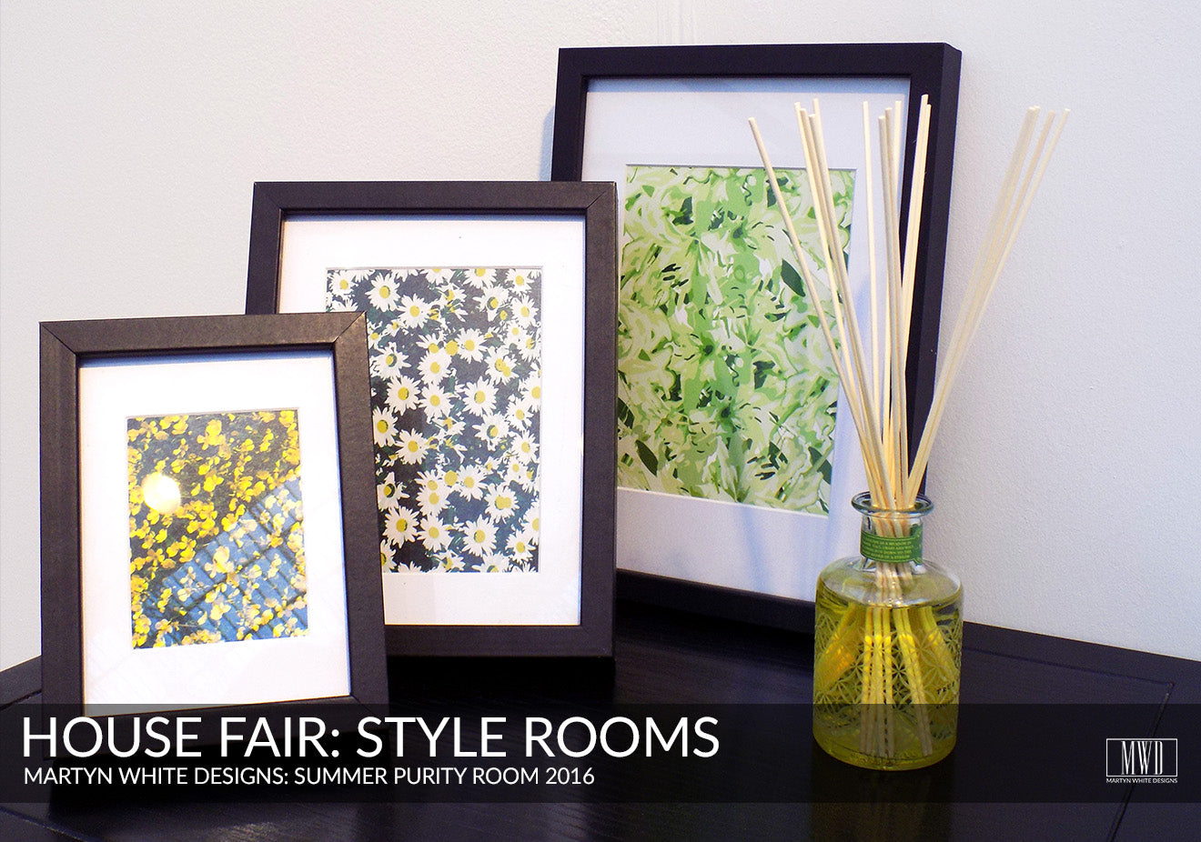 Modern floral art prints on display at the House Fair Style Rooms