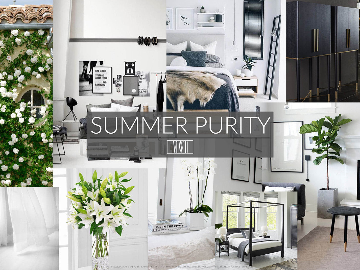 Summer styled bedroom home decorating inspiration moodboard