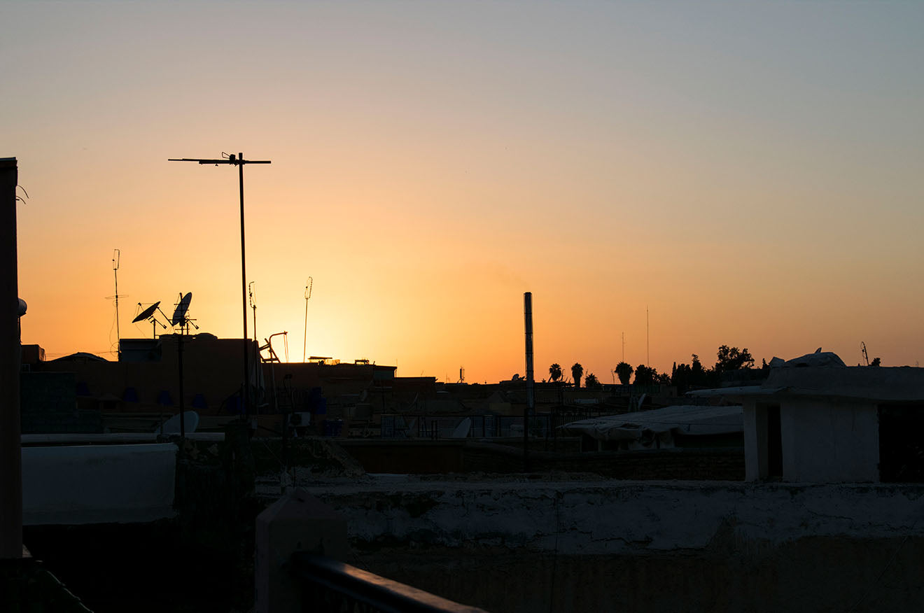 Sunset from the rooftops of Marrakech