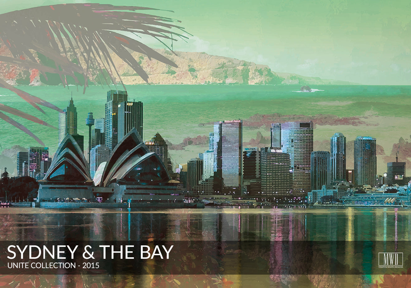 Sydney and the bay double exposed art print
