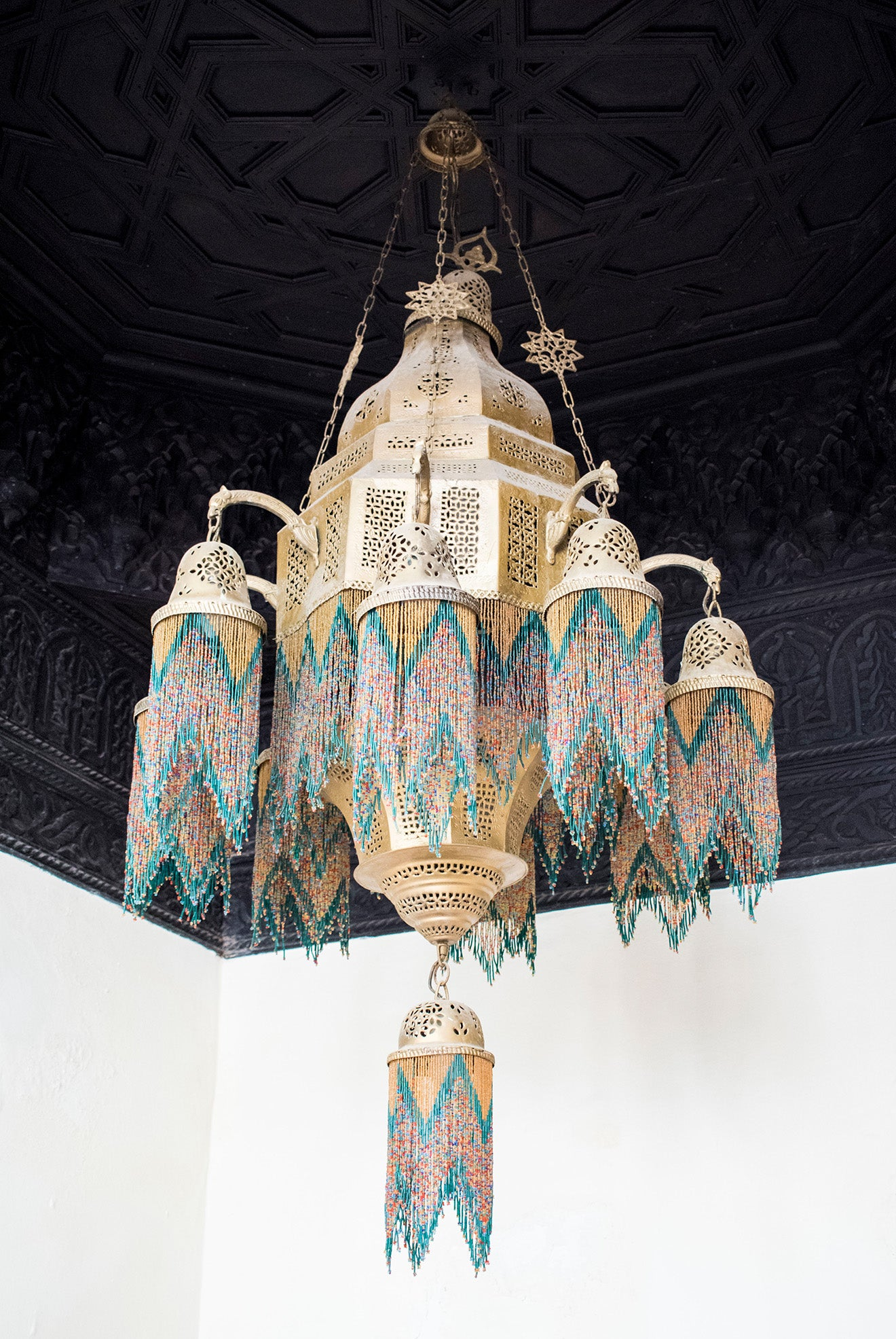 Syrian brass chandelier with beaded detailing