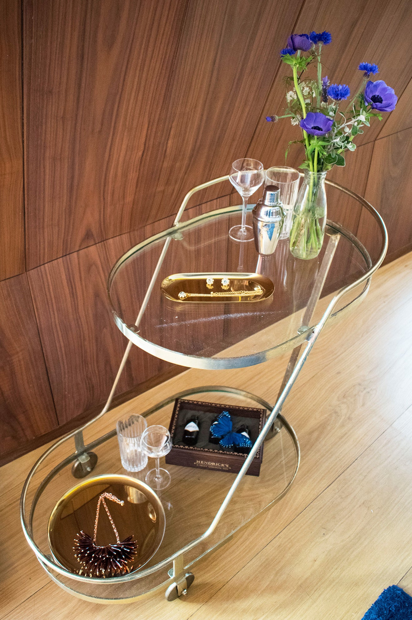Ted Baker drinks trolley with jewellery