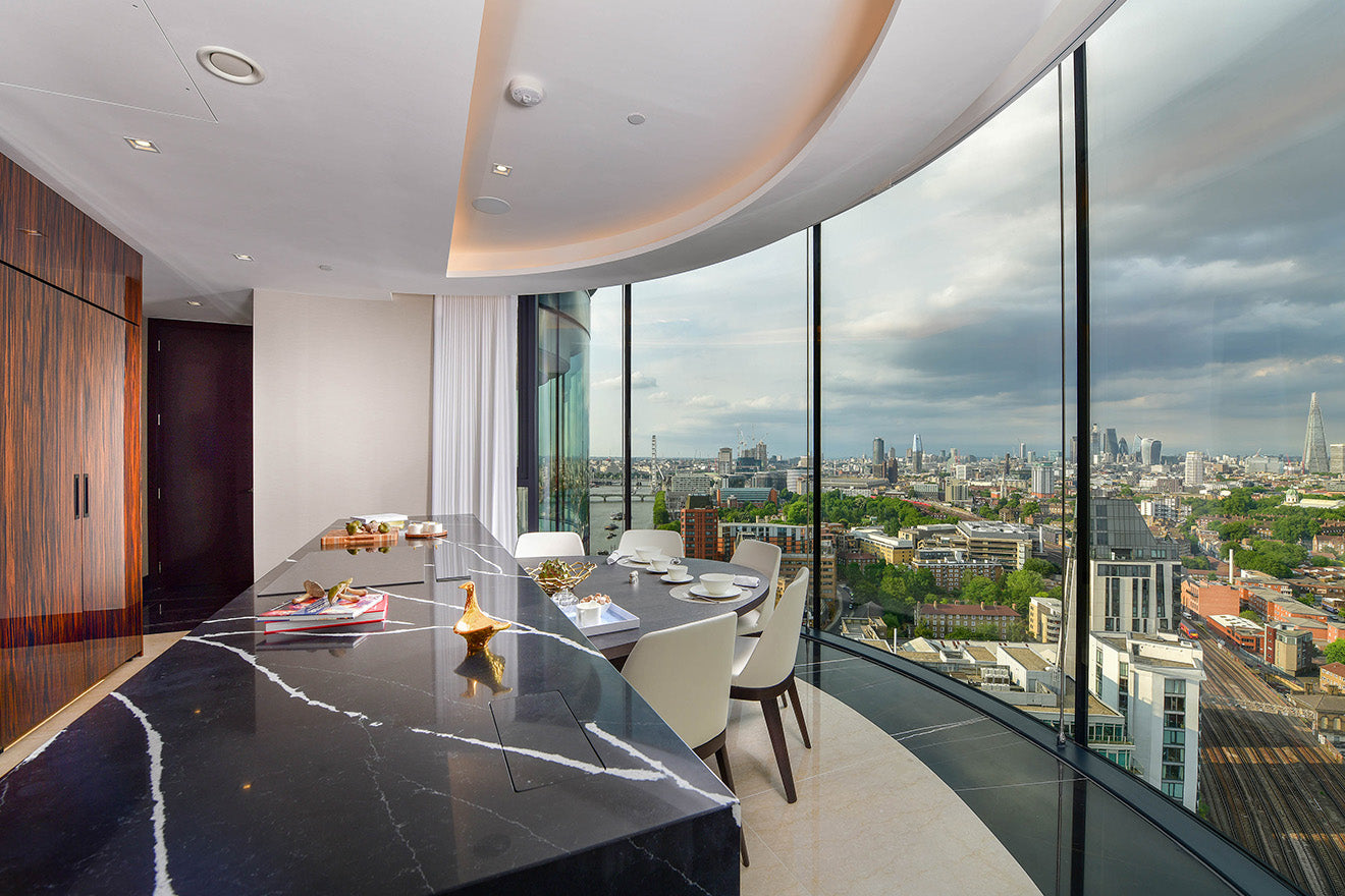 Kitchen in the the Corniche Luxury Penthouse, Albert Embankment, St James