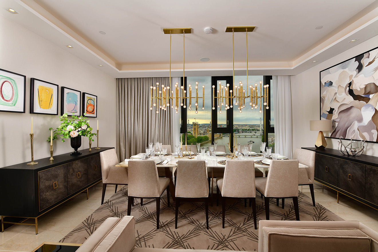 Dining room in the Corniche Luxury Penthouse Albert Embankment St James