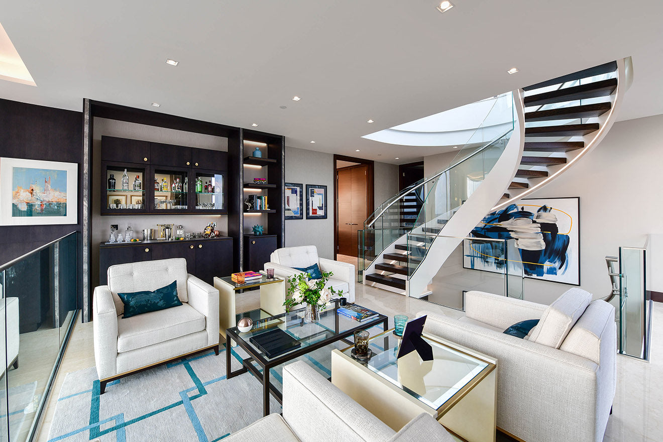 Informal living space and bar The Corniche Luxury Penthouse Albert Embankment St James