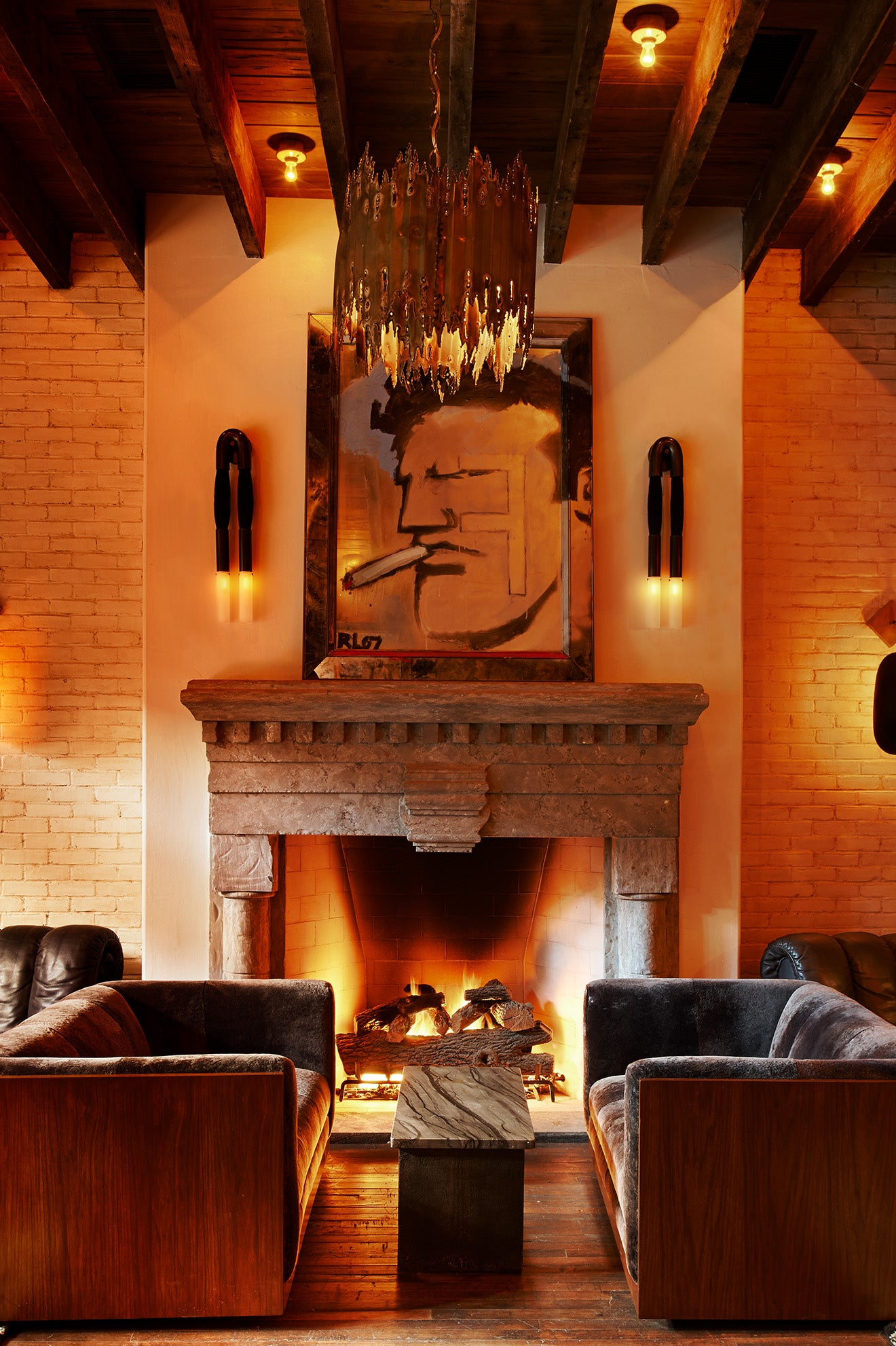The Ludlow Hotel New York Main Lounge and fireplace