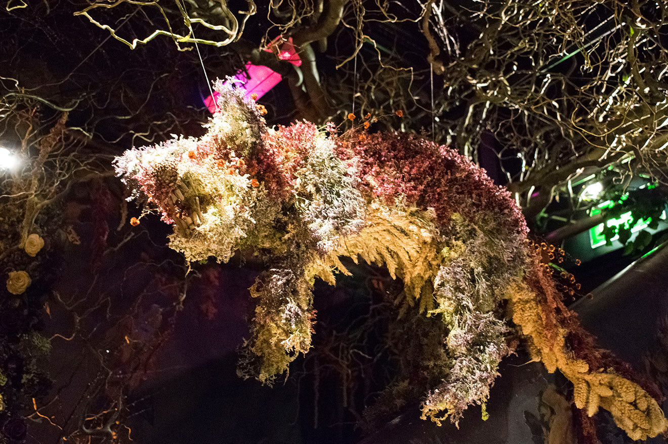 The Night Before Christmas floral woodland art display sketch London