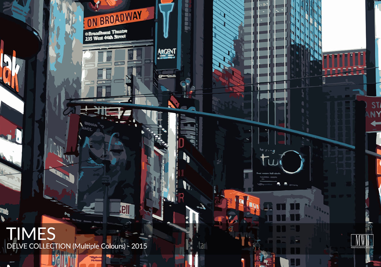 Abstract Times Square art Print New York Martyn White Designs Portfolio