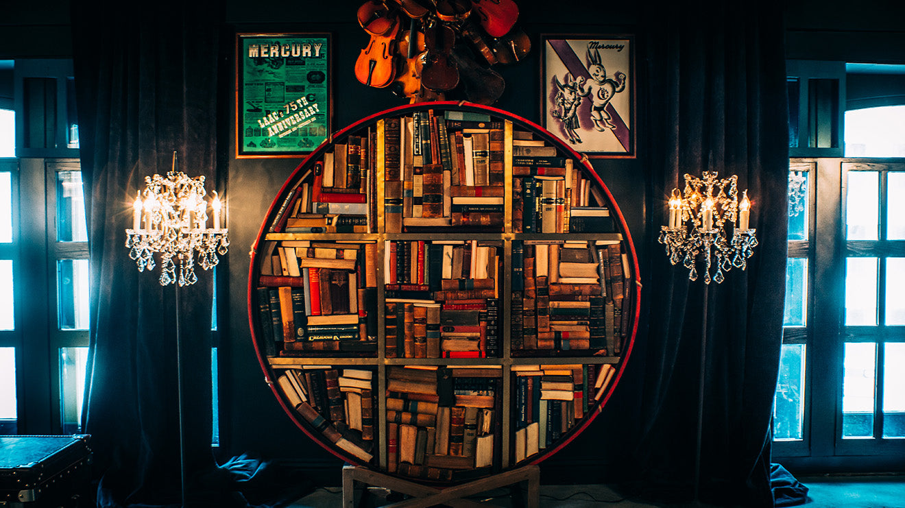 Timothy Oulton Blue Room Los Angeles Athletic Club circular bookshelf
