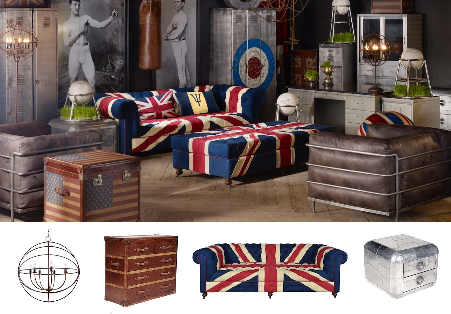Timothy Oulton Sports Club Union Jack Sofa theme