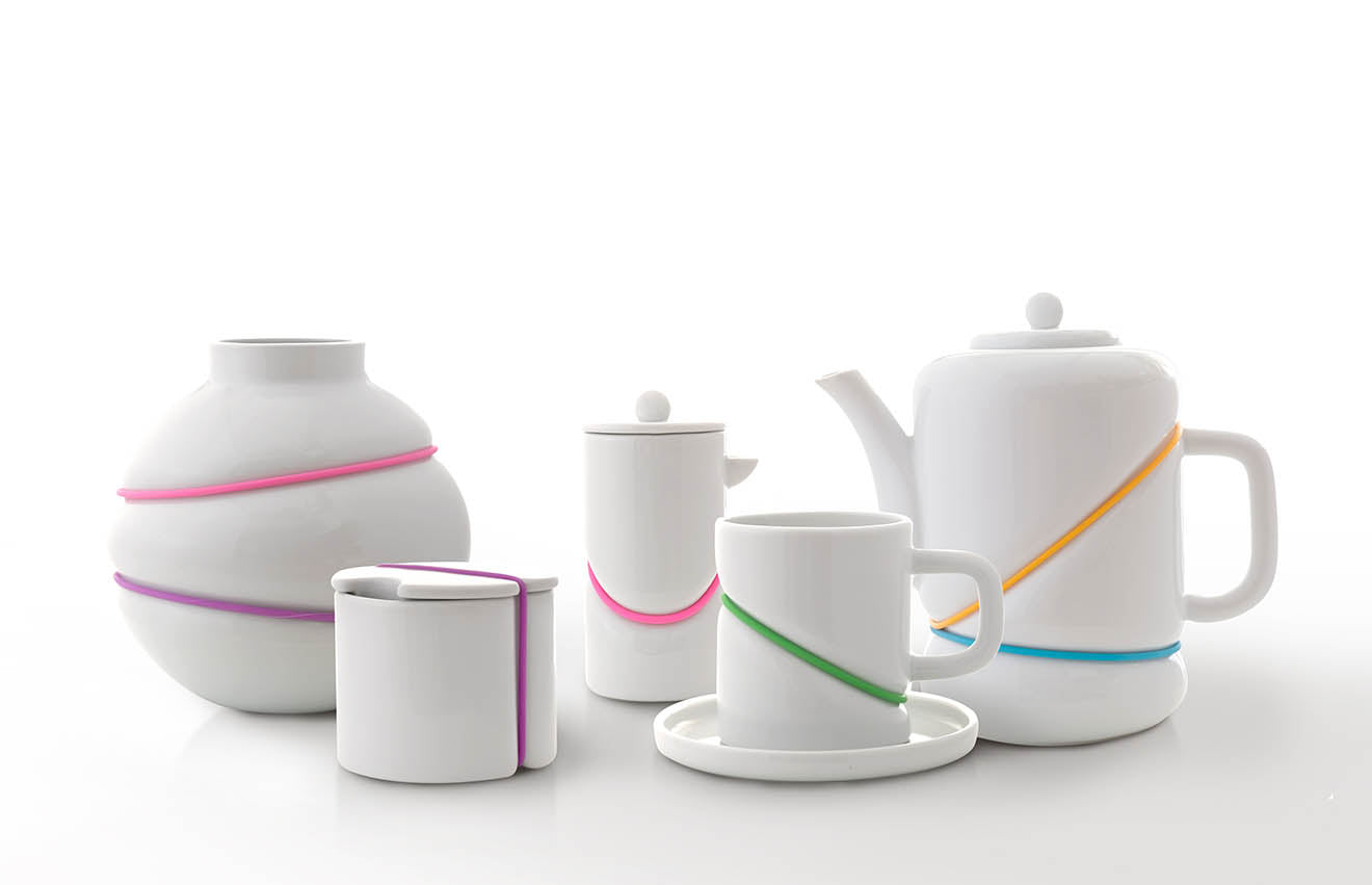 Toast living modern tea set with bright rubber bands