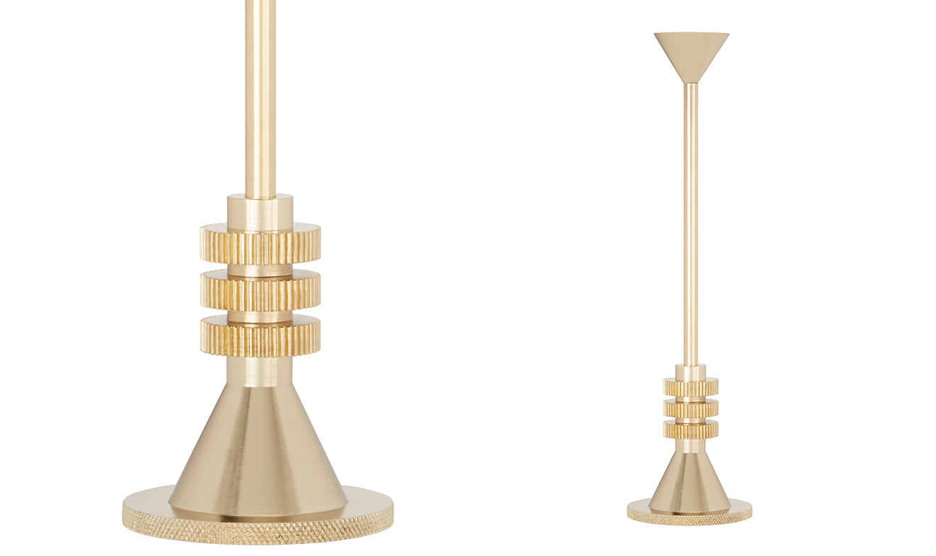 Tom Dixon brass cog candle holder medium