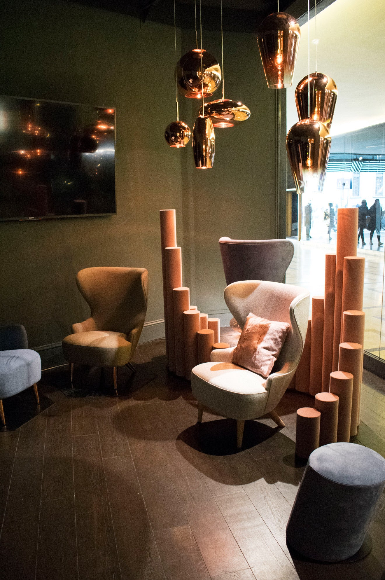 Tom Dixon Multiplex Milan chairs and lighting