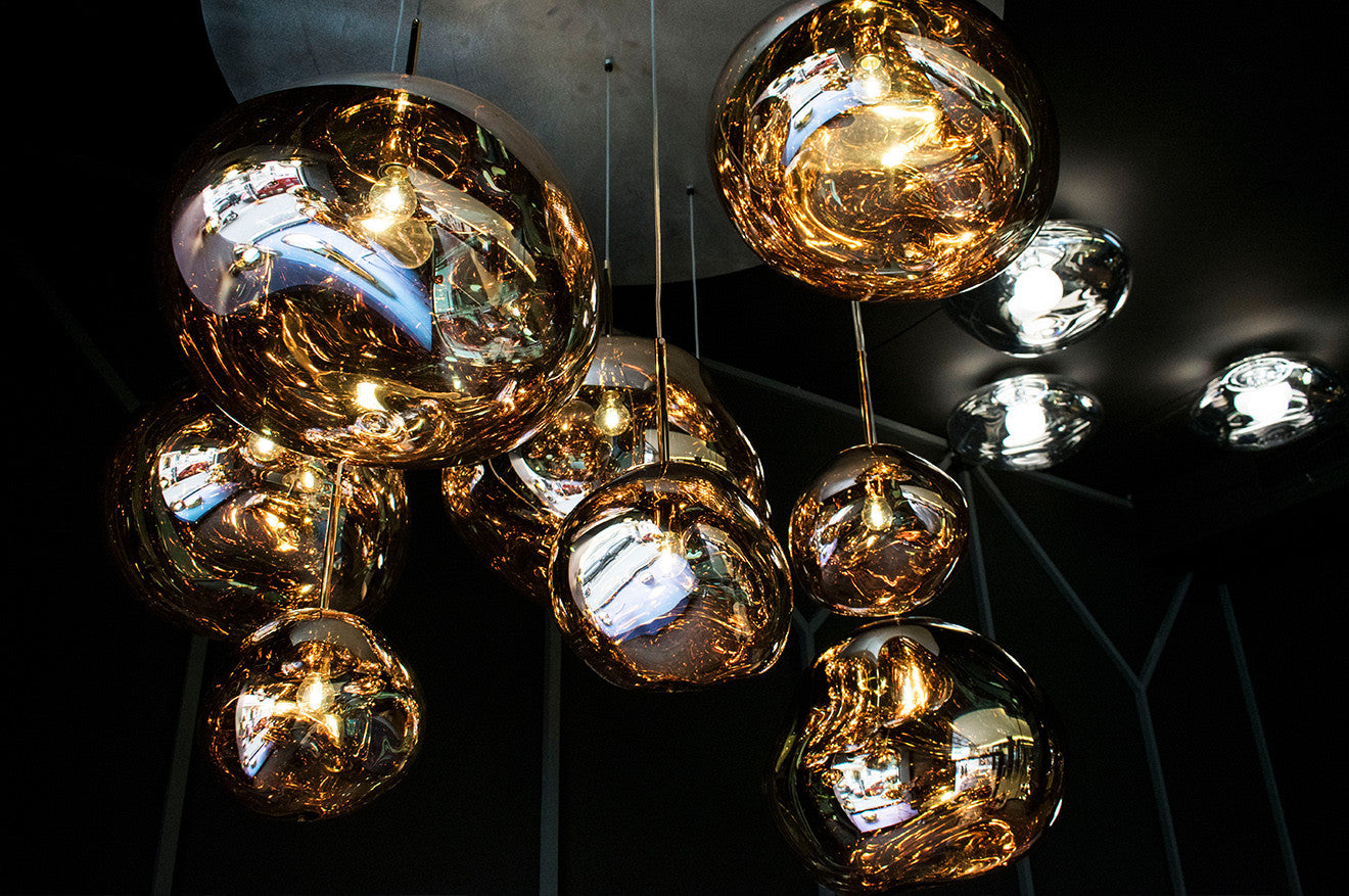 Tom Dixon Gold Brass Melt Pendant Lighting