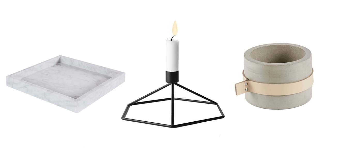 Carrara marble square tray, metal geometric candle holder