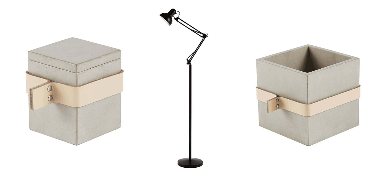 Concrete storage boxes and Copenhagen floor lamp