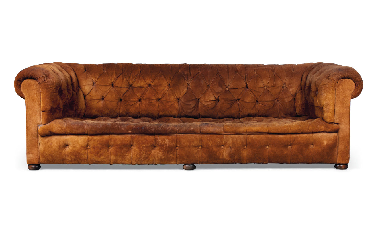 antique victorian tan suede Chesterfield sofa