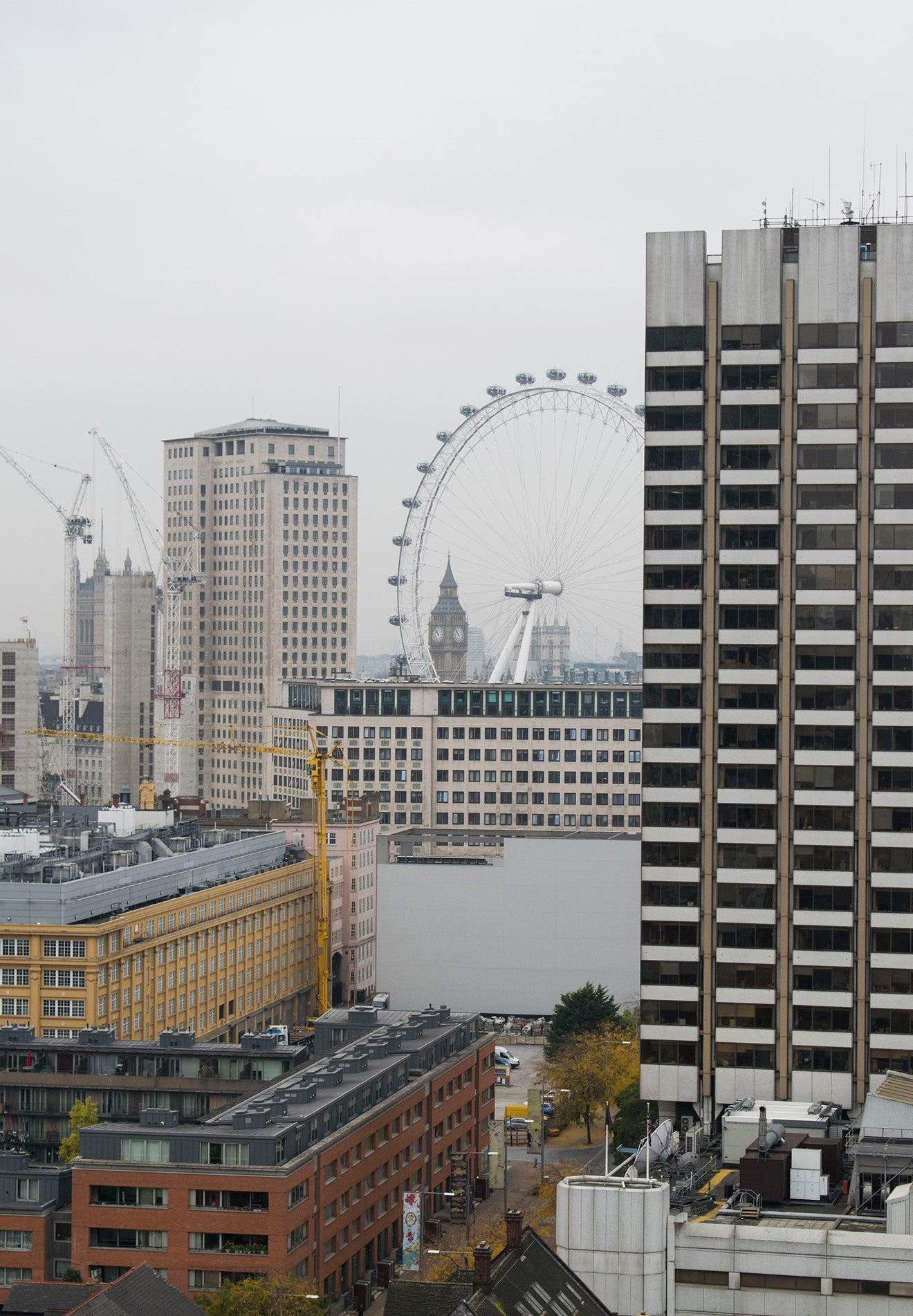 Views across London including the London Eye and Big Ben from the OXO Tower