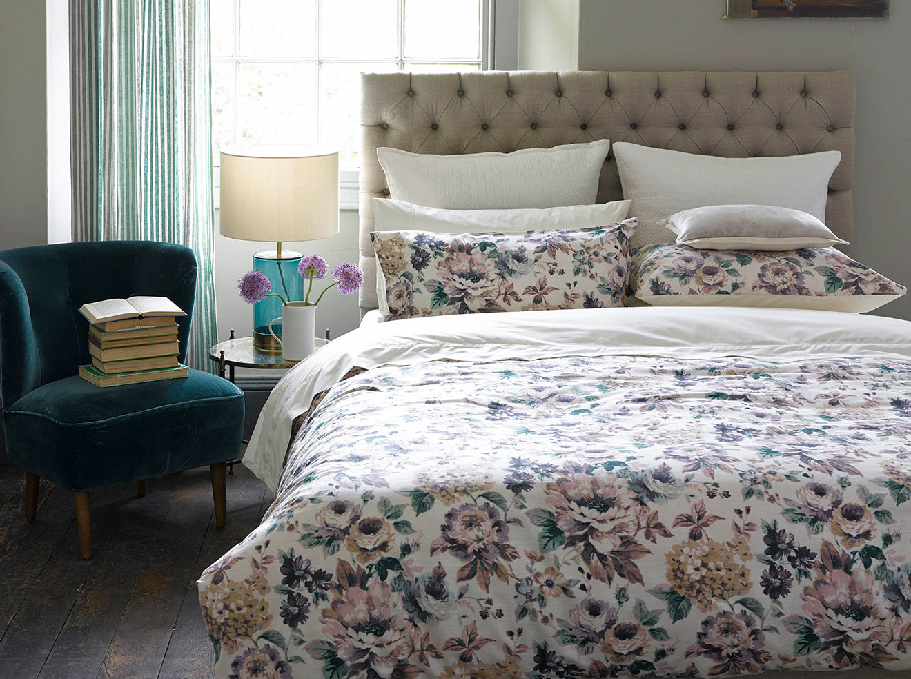 Hartford luxury floral bedding in purple and green from Christy