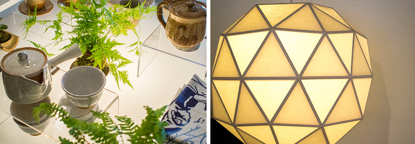 Geometric lantern and tea sets at Wagumi OXO Tower Wharf