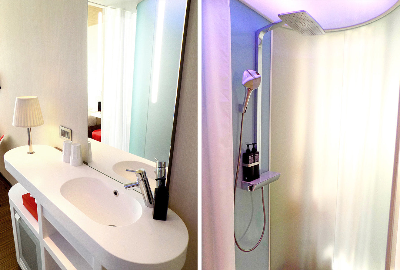 Washroom and shower at the CitizenM Hotel London