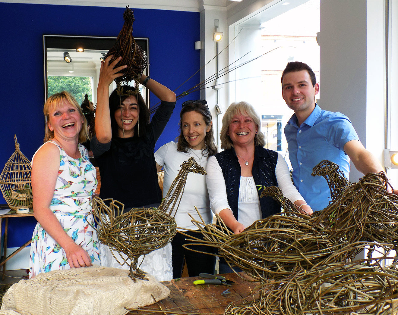 Martyn White group photo with willow weaving workshop participants at LINLEY London