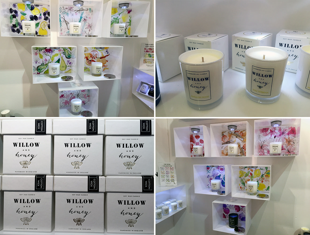 Willow & Honey Candles on display at their stand at Pulse London