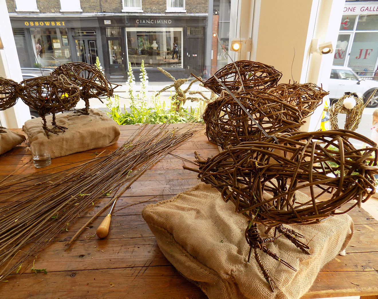 Willow hen and rooster sculptures