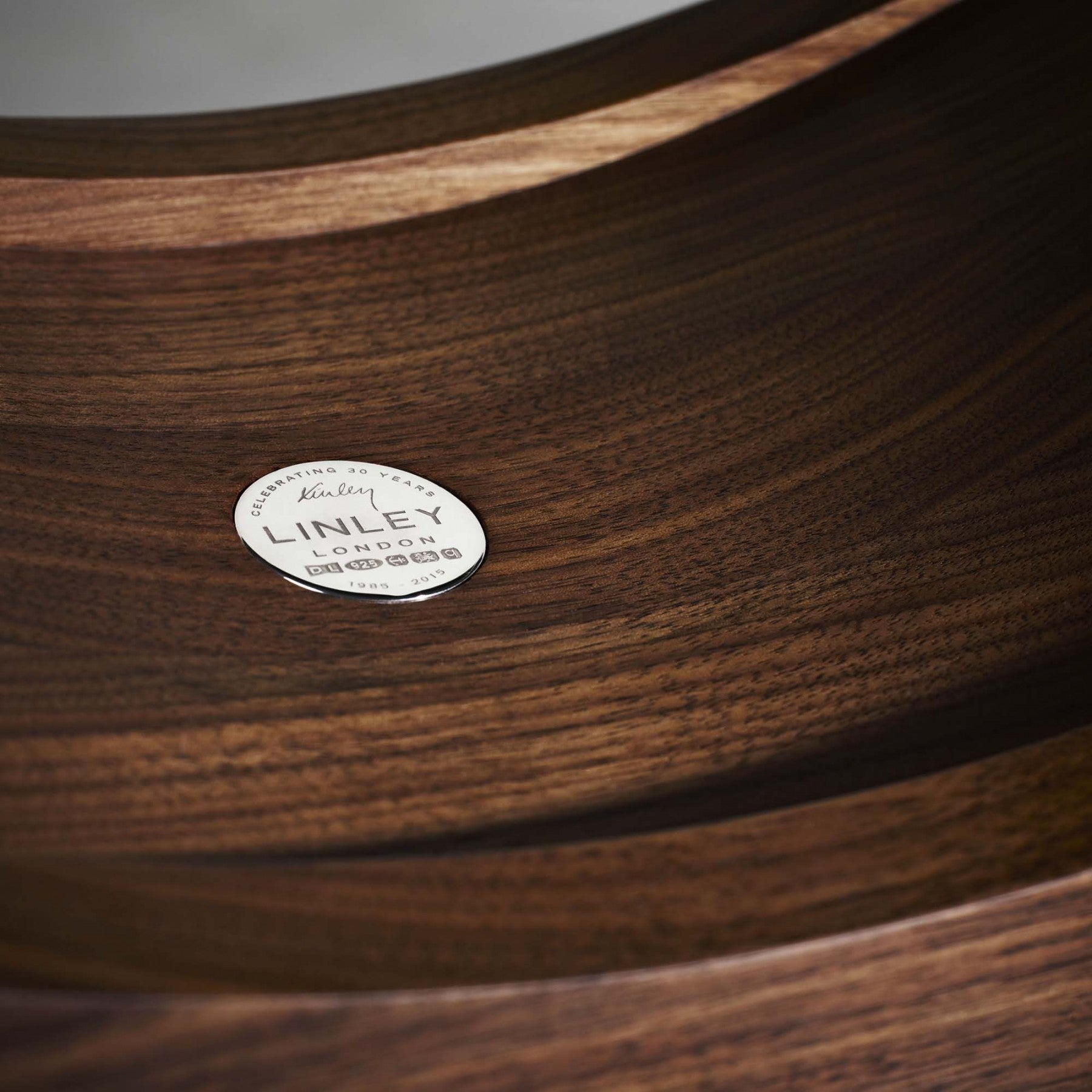 LINLEY London Crescent Fruit Bowl Walnut Wood Detail
