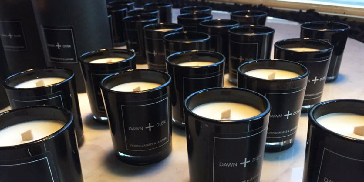 Black luxury pomegranate candles for the evening