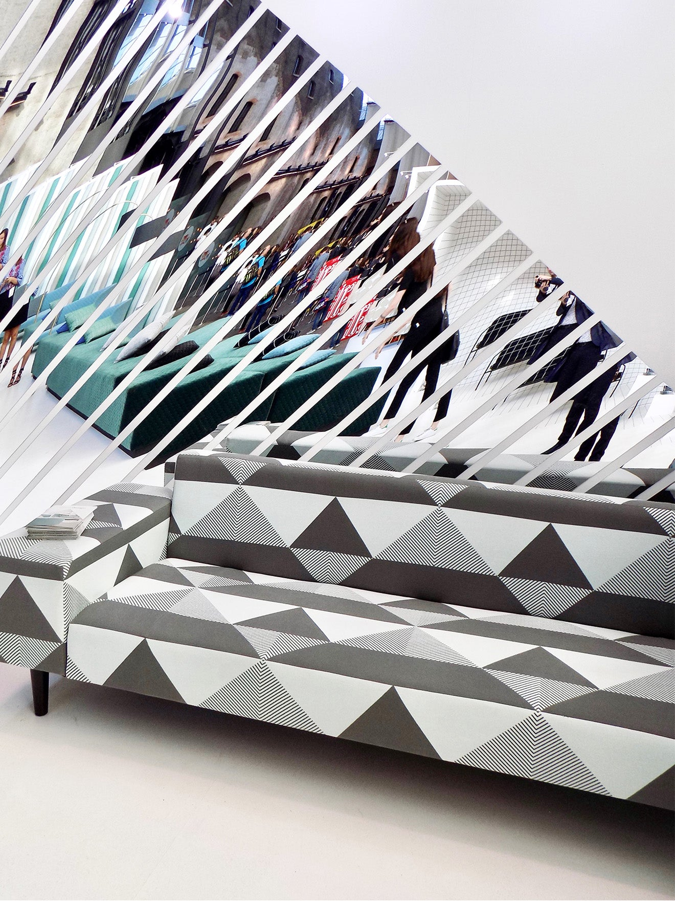 KirkByDesign Geo sofa on display at designjunction London Design Festival