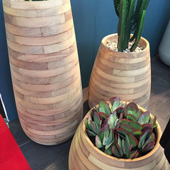 wooden slatted pots with succulent plants