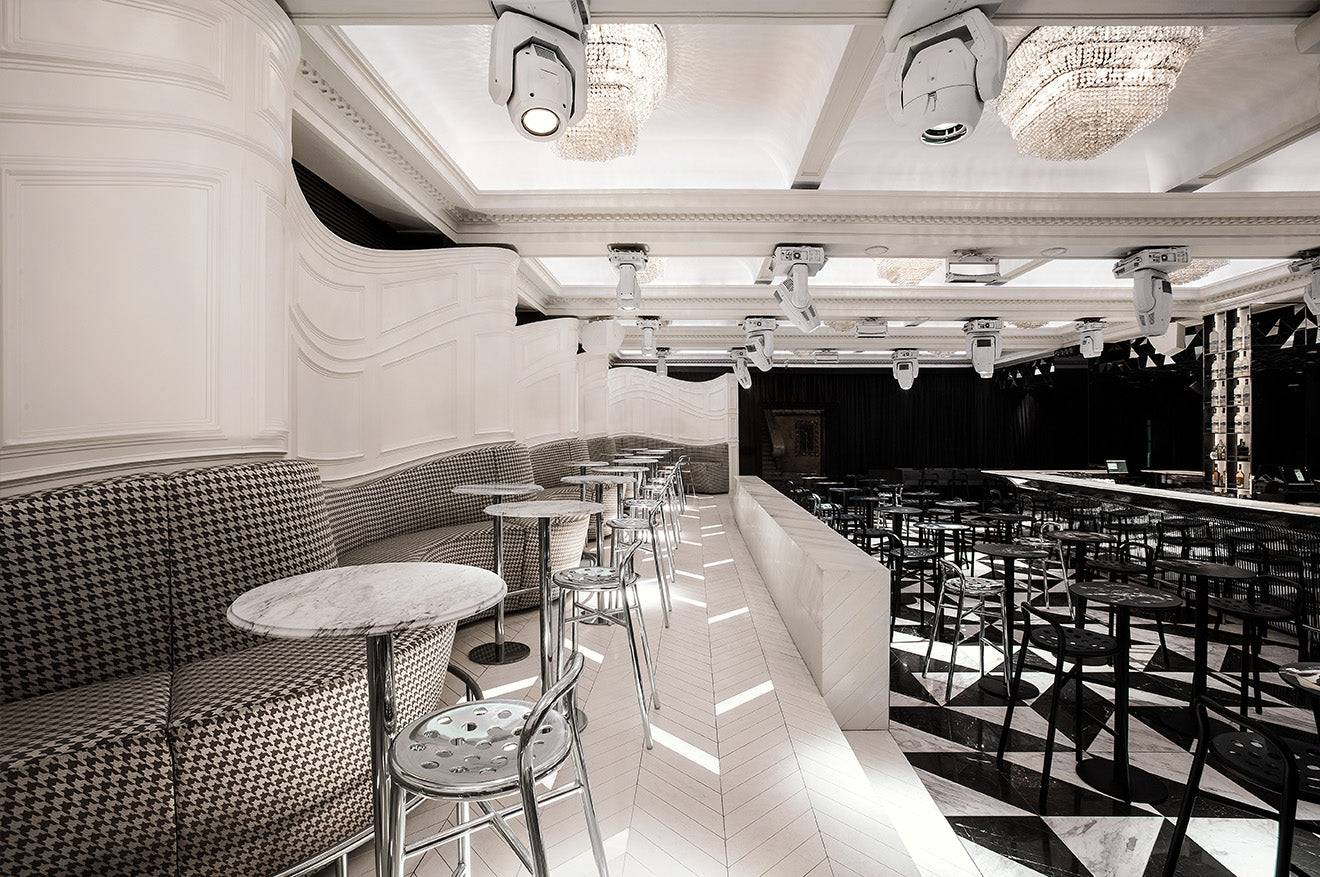 monochrome interior design for club Mascara in Sofia designed by Studio Mode