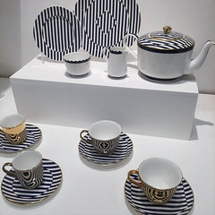 striped tea set on display at Designjunction London Design Festival
