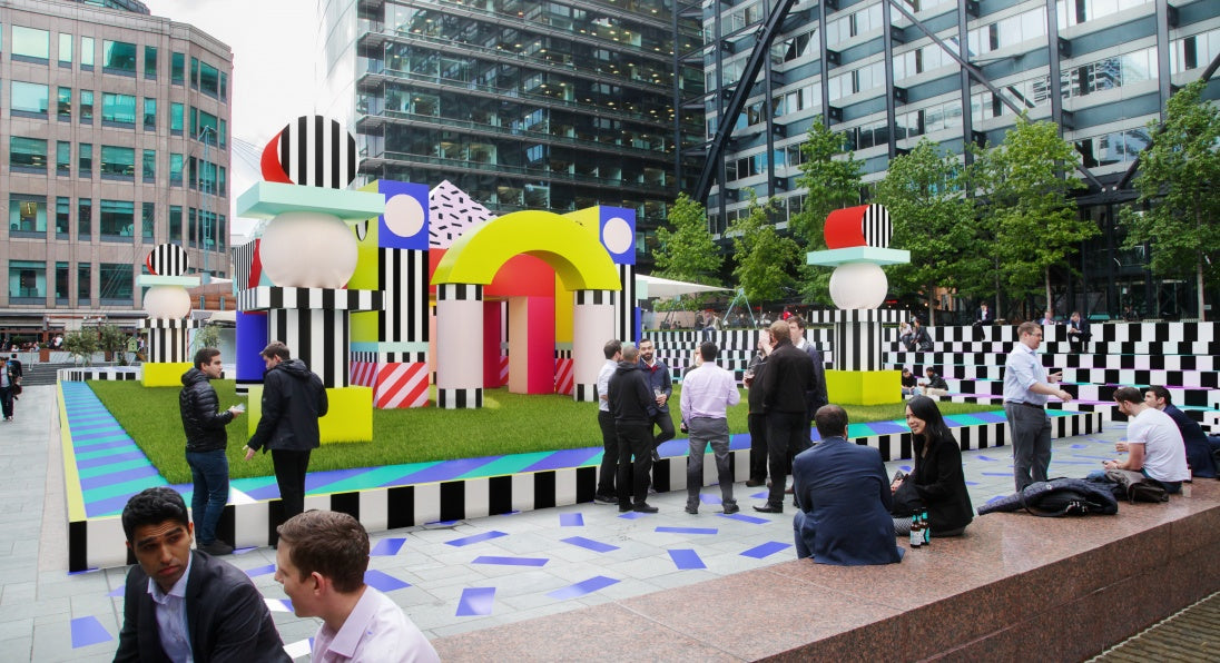 Villa Walala created by Camille Walala is an exuberantly colourful and unexpected architectural landscape in Exchange Square, Broadgate.