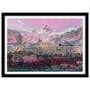 Athens double exposed artwork with mountains in pink