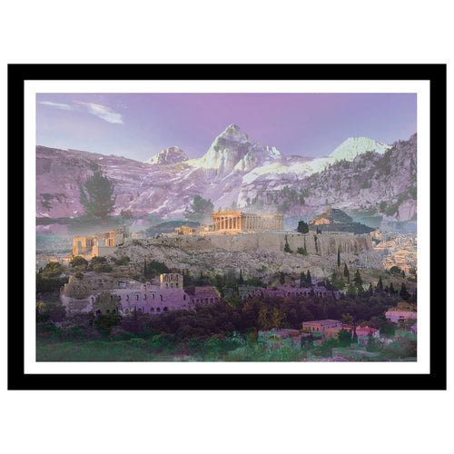 Athens double exposed artwork with mountains in purple