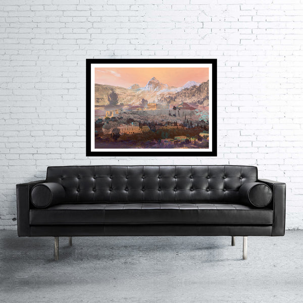 Athens double exposed art print with mountains in orange
