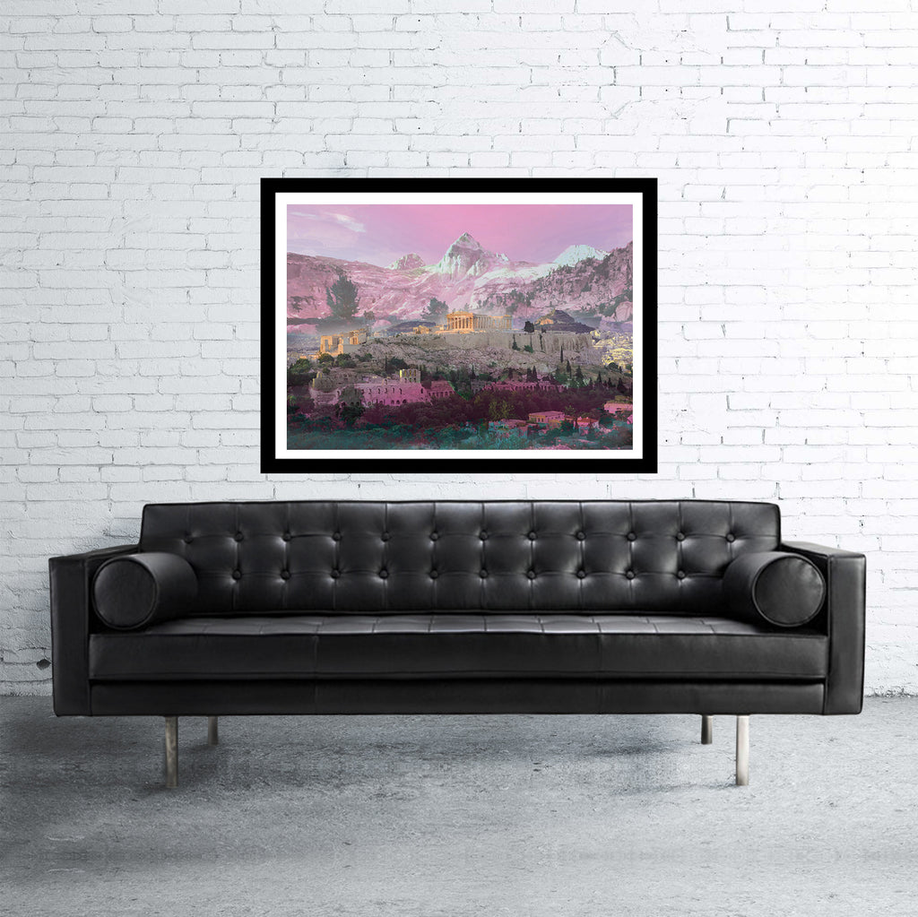 Athens double exposed art print with mountains in pink