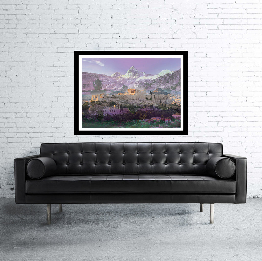 Athens double exposed art print with mountains in purple